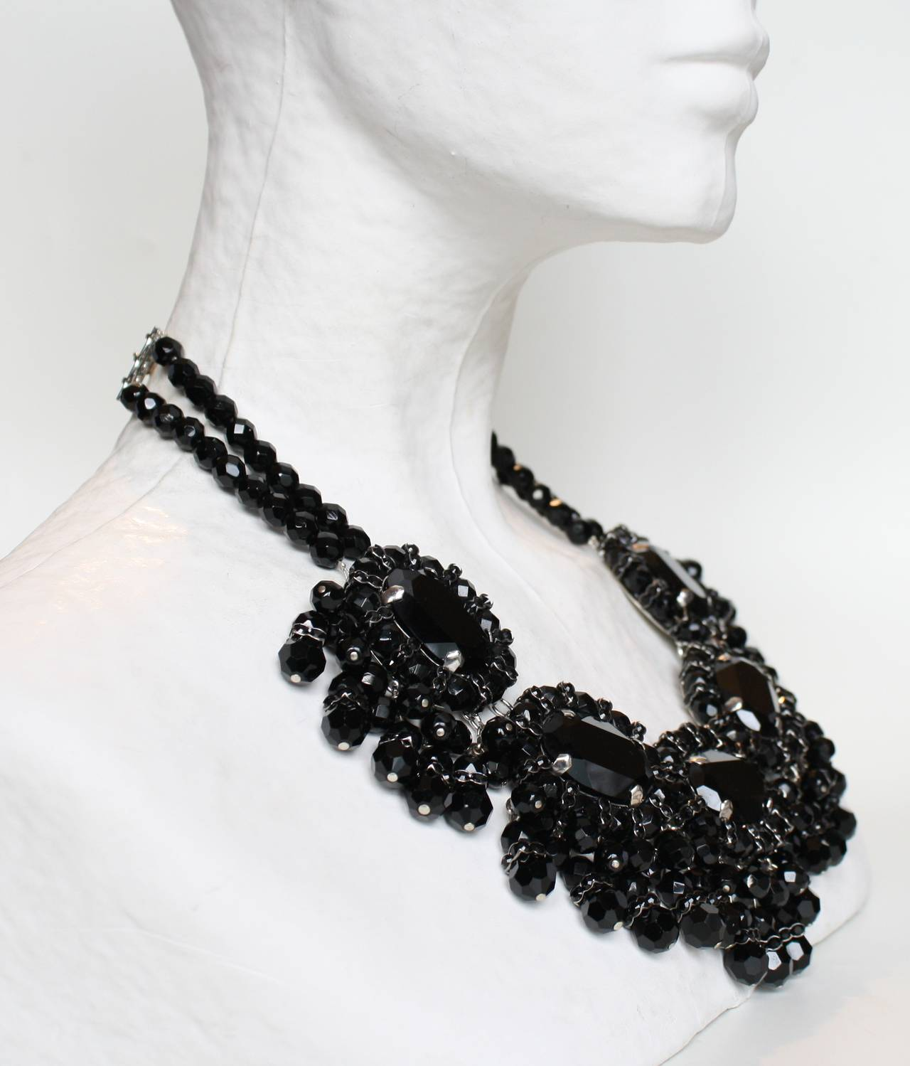 Handmade in her Parisian atelier, this black fringe necklace from designer Francoise Montague is magnificent. Made with Swarovski crystals, and glass beads. 