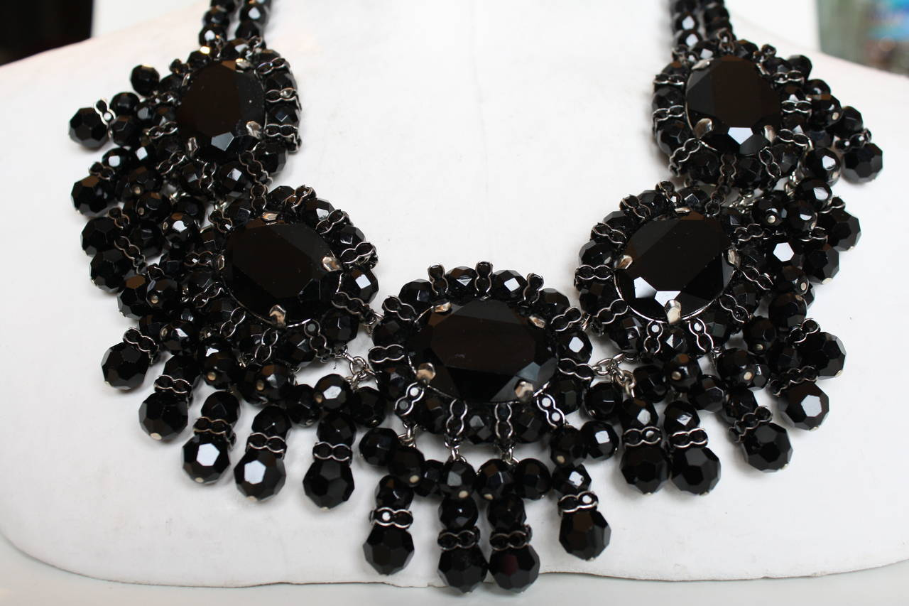 Francoise Montague Black Glass and Swarovski Crystal Fringe Choker Necklace In As new Condition For Sale In Virginia Beach, VA