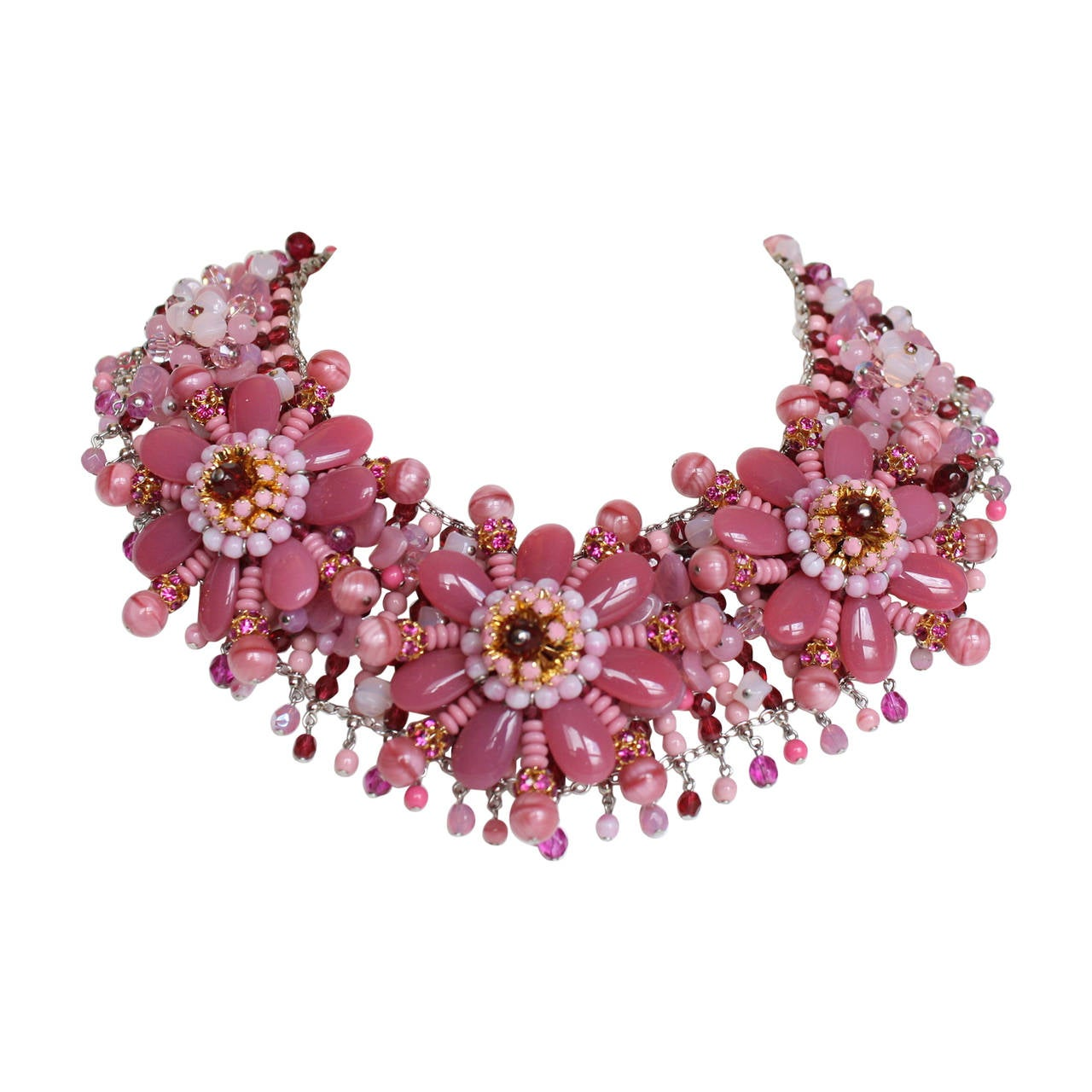 Francoise Montague Hand Beaded Floral Motif Statement Necklace 1