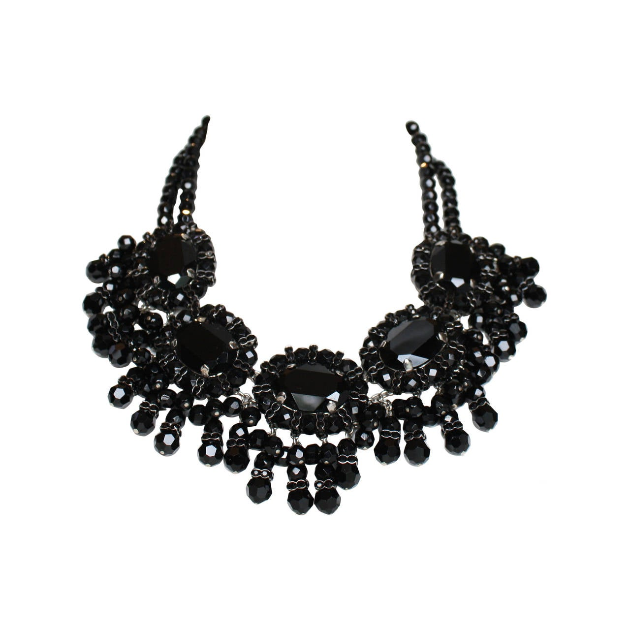 Francoise Montague Black Glass and Swarovski Crystal Fringe Choker Necklace For Sale