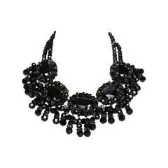 Francoise Montague Black Glass and Swarovski Crystal Fringe Choker Necklace