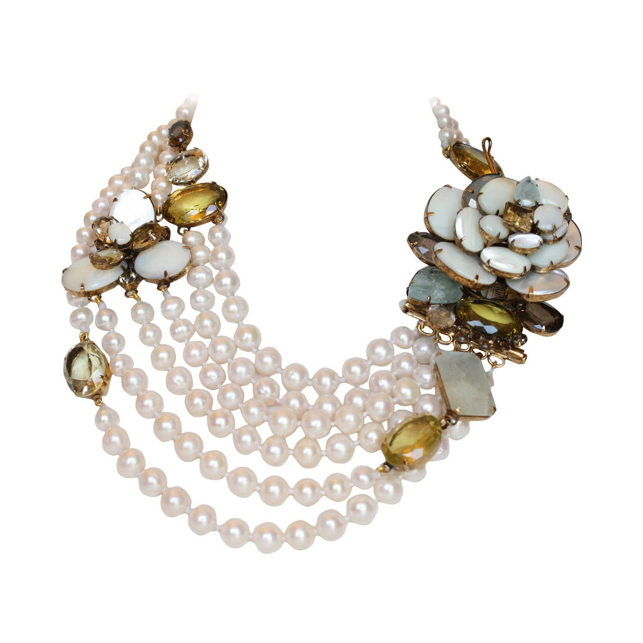 Iradj Moini Fresh Water Pearl, Aquamarine, and Citrine Necklace For Sale