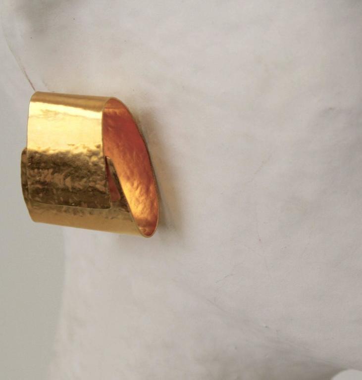 Herve van der Straeten Gilded Brass Folded Clip Earrings 2