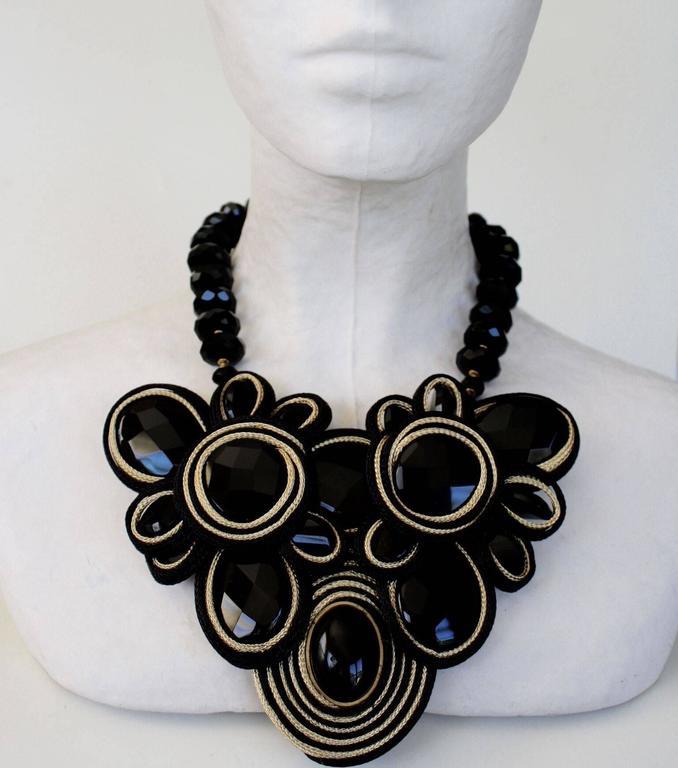 Daniele Cornaggia Cording & Black Onyx Statement Necklace 3
