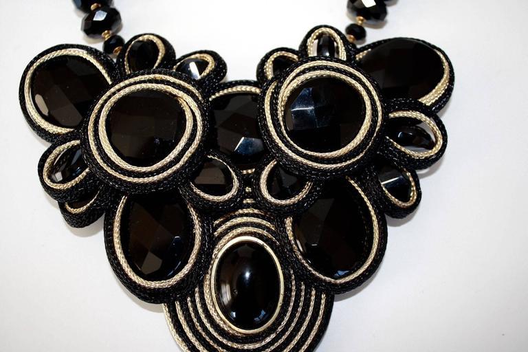 Daniele Cornaggia Cording & Black Onyx Statement Necklace 4