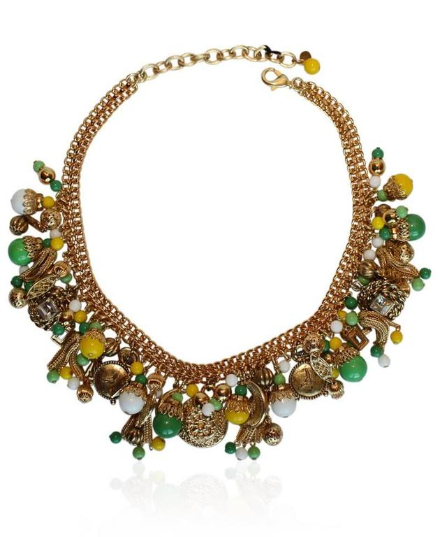 Francoise Montague Green & Yellow Pontresina Necklace In As New Condition For Sale In Virginia Beach, VA
