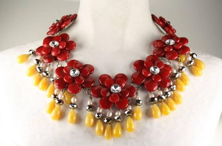 Francoise Montague Red and Yellow Agate Floral Motif Necklace 2