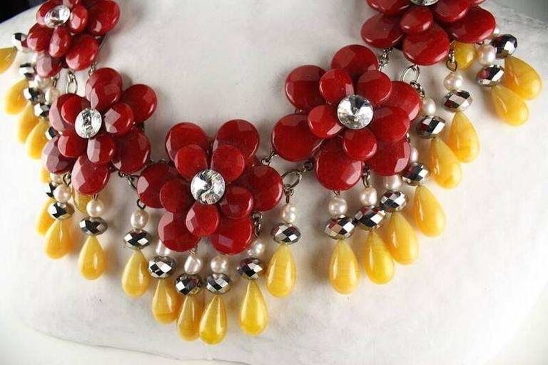 Francoise Montague Red and Yellow Agate Floral Motif Necklace 3