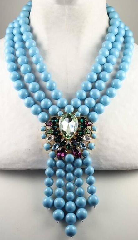 Melissa Kandiyoti Turquoise Swarovski Crystal Pearl Drop Necklace 3
