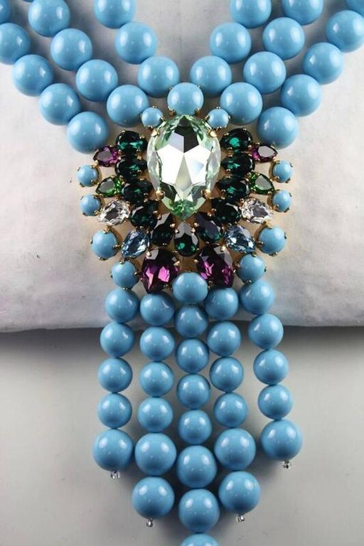 Melissa Kandiyoti Turquoise Swarovski Crystal Pearl Drop Necklace 2