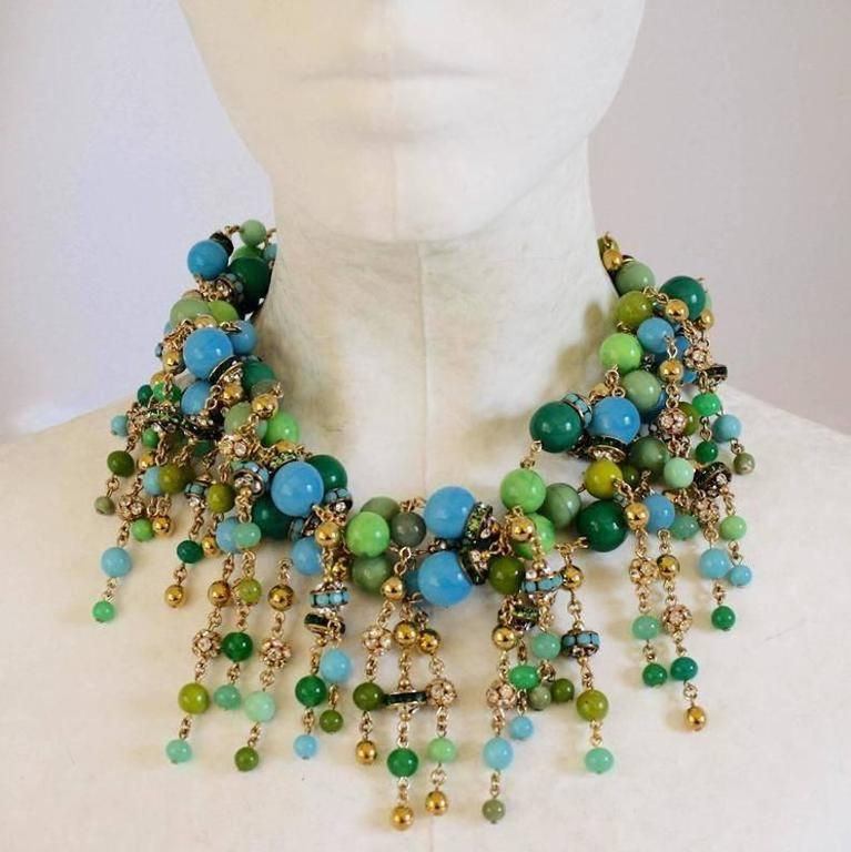 Francoise Montague Blue, Green, and Crystal Fringe Necklace In As New Condition For Sale In Virginia Beach, VA