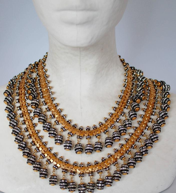 Francoise Montague Double Strand Crystal Rondelle Tassel Necklace 2