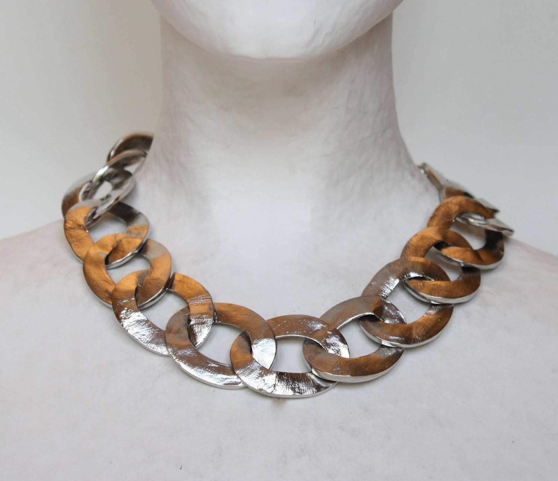 Goossens Paris Palladium Chain Necklace at 1stdibs