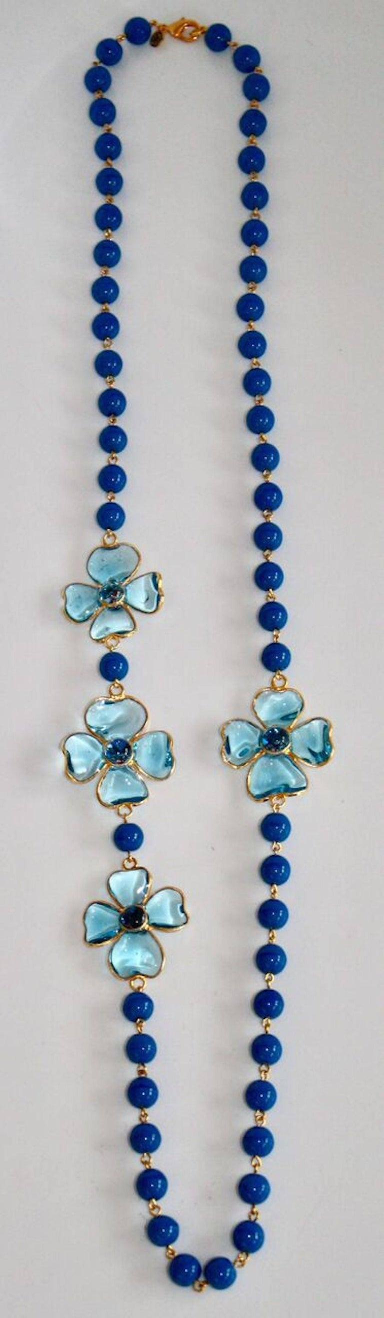 Francoise Montague Blue Pate de Verre Glass Amalfi Necklace In New Condition For Sale In Virginia Beach, VA