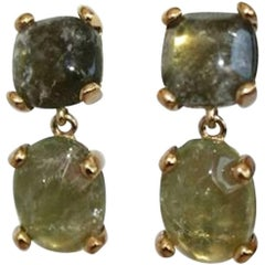Goossens Paris Green Tinted Rock Crystal Clip Earrings