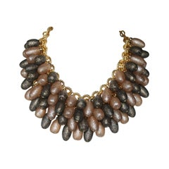 Francoise Montague Grey and Gold Madrilene Necklace