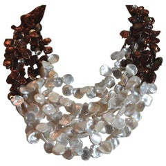 Patricia von Musulin Two-Tone Keshi Pearl Necklace with Sterling Silver Clasp