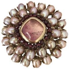 Goossens Paris Tinted Rock Crystal, Garnet, and Baroque Pearl Brooch