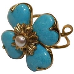 Goossens Paris Turquoise and Natural Pearl Adjustable Ring