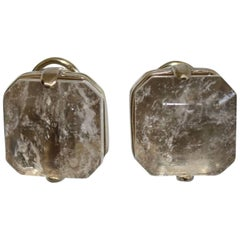 Goossens Paris Clear Rock Crystal Baguette Clip Earrings