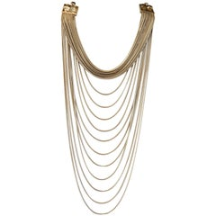 Goossens Paris Origines Pale Gold and Rock Crystal Multi Chain Necklace
