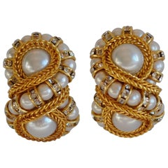"Francoise Montague Glass Pearl ""Huit"" Clip Earrings"