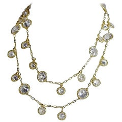 Cubic Zirconia Diamond by the Yard Vermeil Drop Necklace