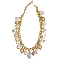 Francoise Montague Antique Chain and Glass Pearl Charm Necklace