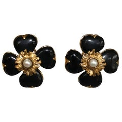 Goossens Paris Black Onyx Clover Clip Earrings with Pearl Center