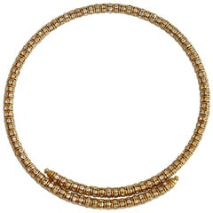 Francoise Montague Gold and Crystal Mabrouk Wraparound Necklace