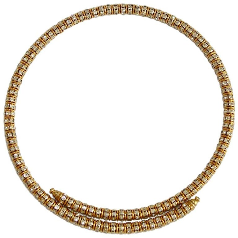 Francoise Montague Gold and Crystal Mabrouk Wraparound Necklace For Sale
