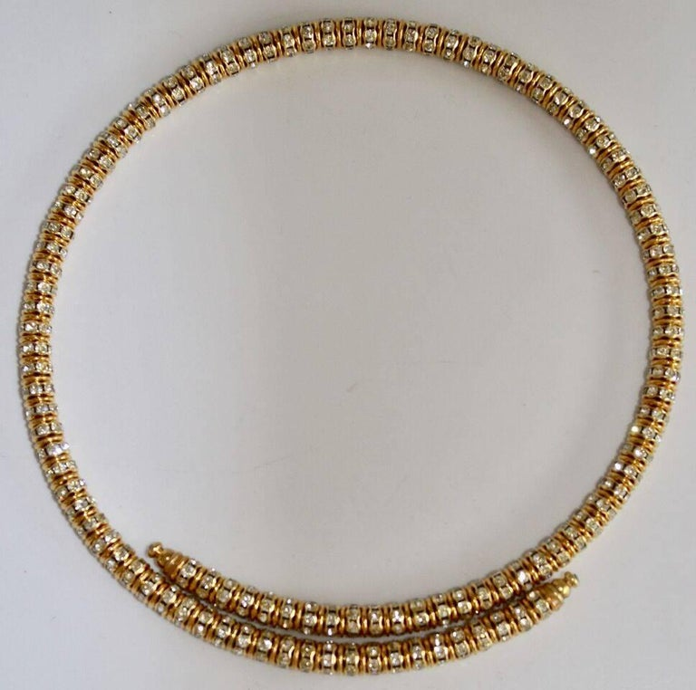 Women's Francoise Montague Gold and Crystal Mabrouk Wraparound Necklace For Sale