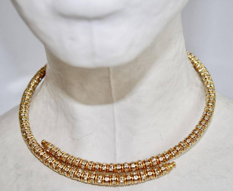 Francoise Montague Gold and Crystal Mabrouk Wraparound Necklace For Sale 1