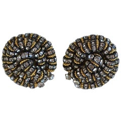 "Francoise Montague ""Vendome"" Black, Gold, and Crystal Button Clip Earrings"