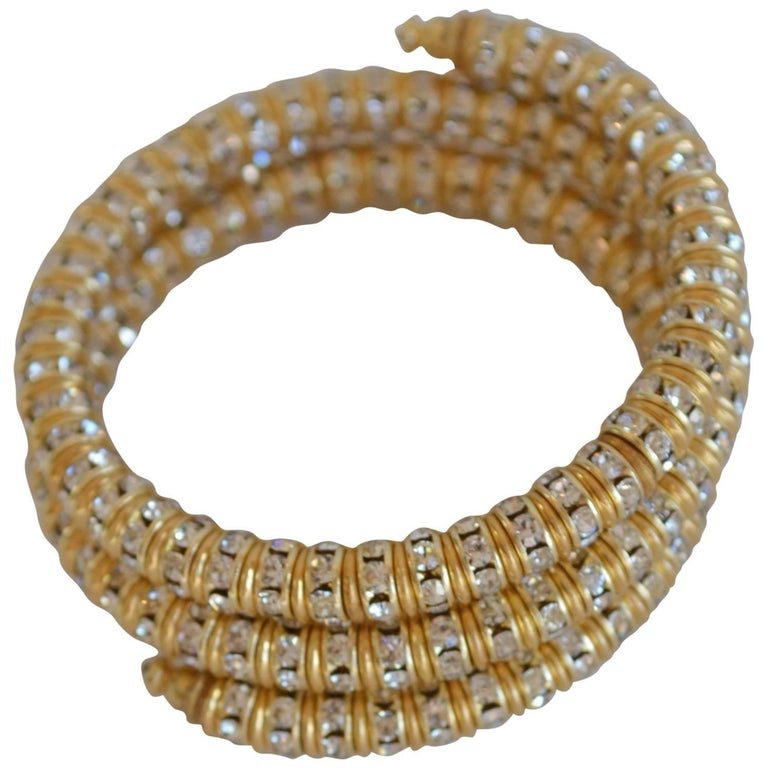 Francoise Montague Gold and Crystal Mabrouk Wrap Bracelet For Sale