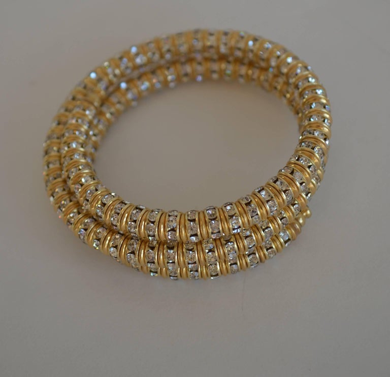 Francoise Montague Gold and Crystal Mabrouk Wrap Bracelet In New Condition For Sale In Virginia Beach, VA