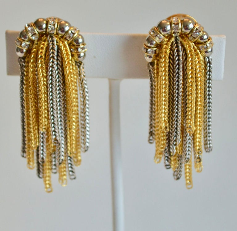 Women's Francoise Montague Crystal and Two Tone Metal Fringe Clip Earrings  For Sale