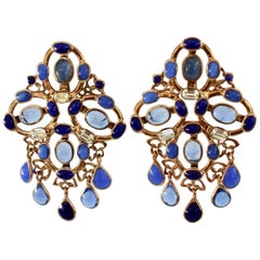 Gripoix Plumetis Clip Drop Earrings