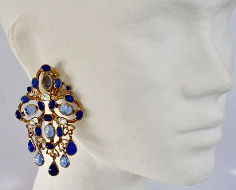 Gripoix Plumetis Clip Drop Earrings In New Condition For Sale In Virginia Beach, VA