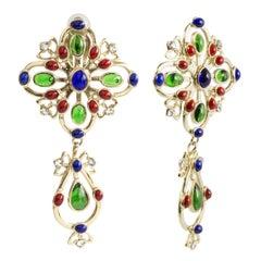 Gripoix Paris Multi Color Long Drop Clip Earrings