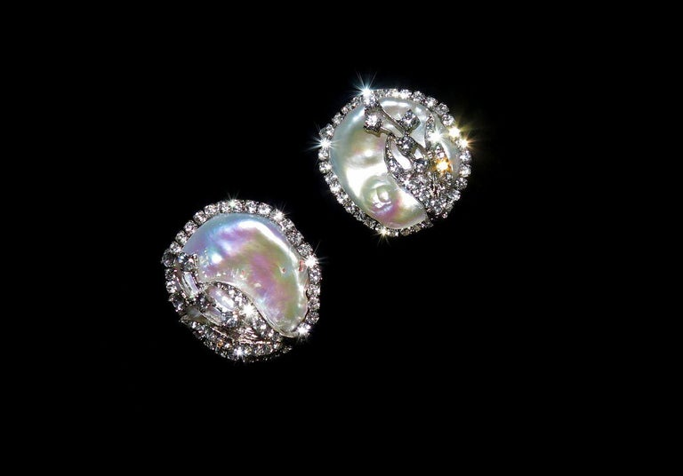 Mei's Swarovski Crystal with Pearl Button Clip Earrings						 In New Condition For Sale In Virginia Beach, VA