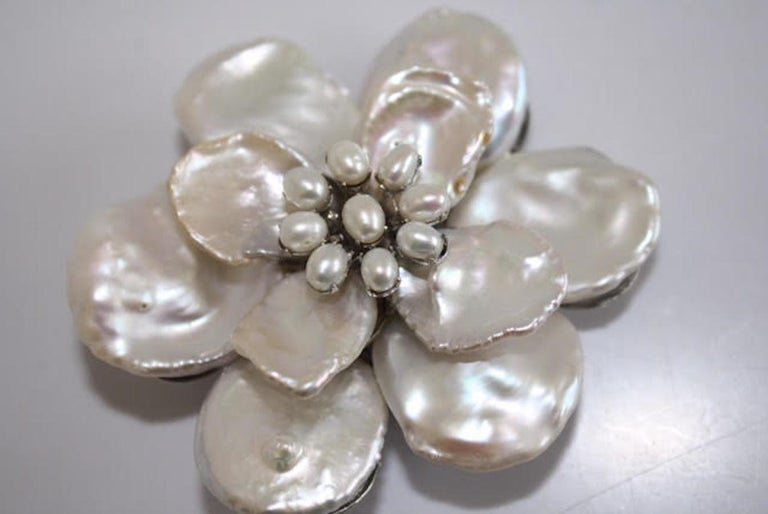 Medium white Keshi pearl flower with pearl center brooch. From Mei's Jewelry, made in NYC.
