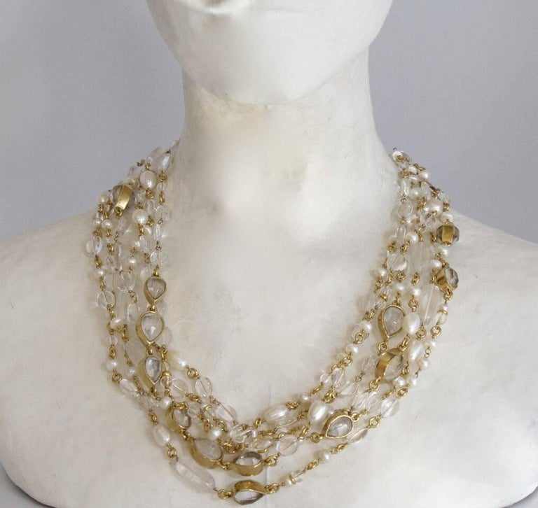 Goossens Paris Long Rock Crystal and Pearl Multi Strand Necklace In New Condition For Sale In Virginia Beach, VA