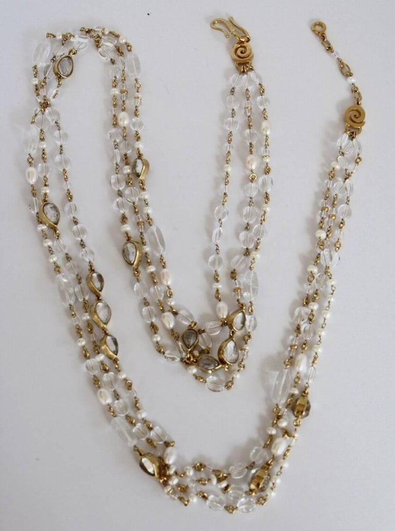 Women's Goossens Paris Long Rock Crystal and Pearl Multi Strand Necklace For Sale