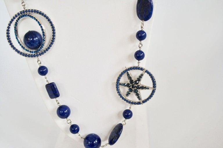 Women's Philippe Ferrandis Blue Swarovski Crystal Long Necklace For Sale