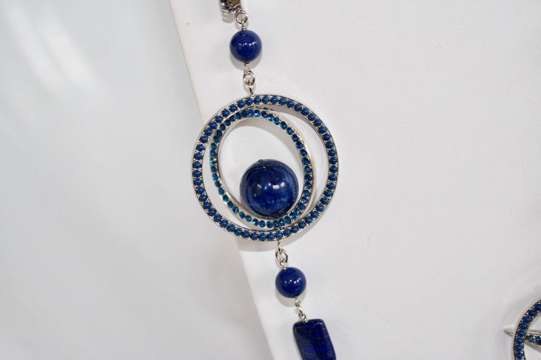 Philippe Ferrandis Blue Swarovski Crystal Long Necklace For Sale 1