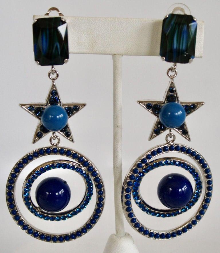 Philippe Ferrandis Blue Swarovski Crystal Star Clip Earrings In New Condition For Sale In Virginia Beach, VA