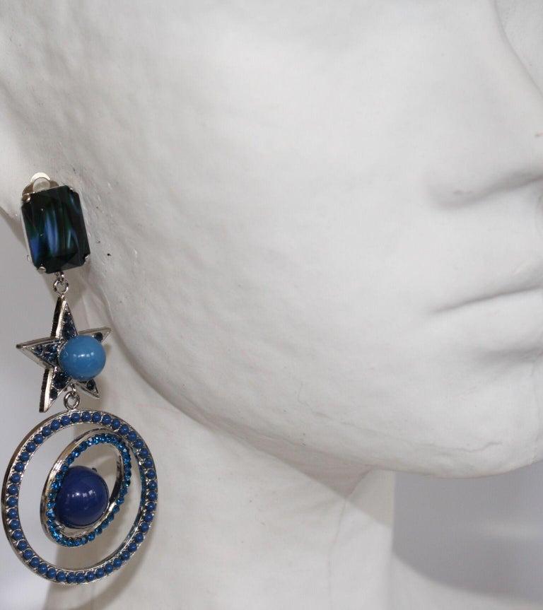 Women's Philippe Ferrandis Blue Swarovski Crystal Star Clip Earrings For Sale