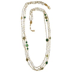Goossens Paris Pearl and Tinted Green Rock Crystal Triple Row Long Necklace