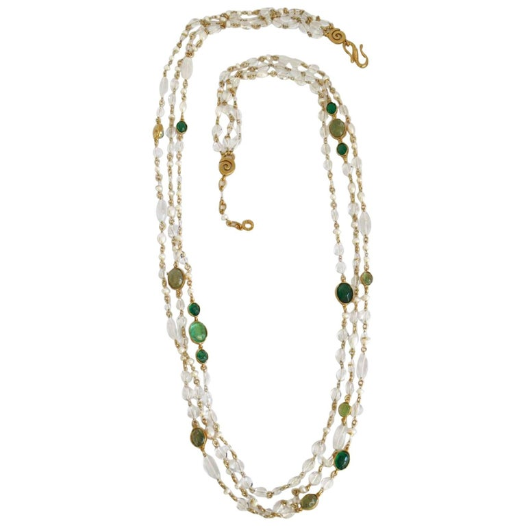 Goossens Paris Pearl and Tinted Green Rock Crystal Triple Row Long Necklace For Sale